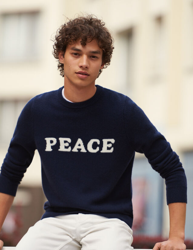 Pullover in lana e cashmere con scritta : Maglioni & Cardigan colore Blu Marino