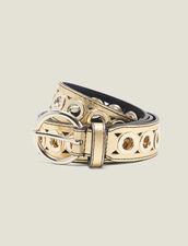 Cintura con fibbia tonda e occhielli : L'intera collezione Invernale colore Oro