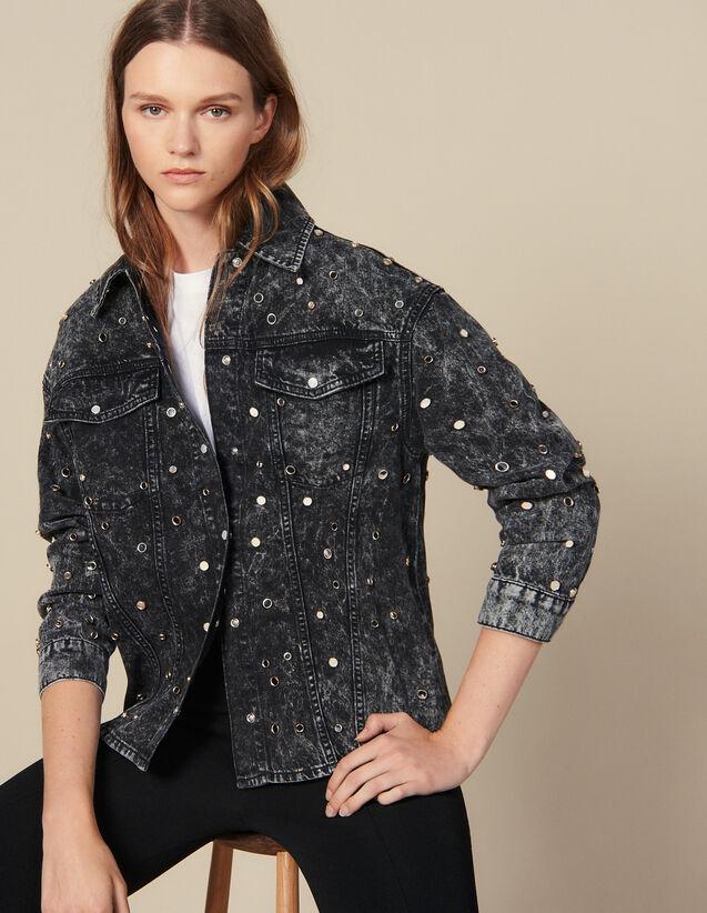 Camicia In Jeans Con Borchie : Top & Camicie colore Nero