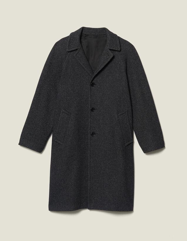 Cappotto lungo in lana : Trench & Cappotti colore Grigio Screziato