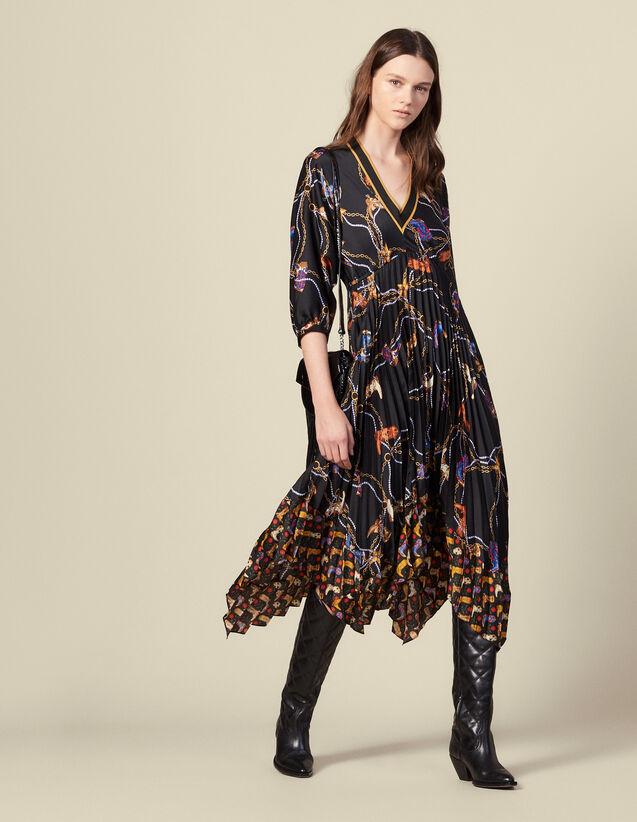 Robe longue en imprimé à jupe plissée : Robes couleur Noir