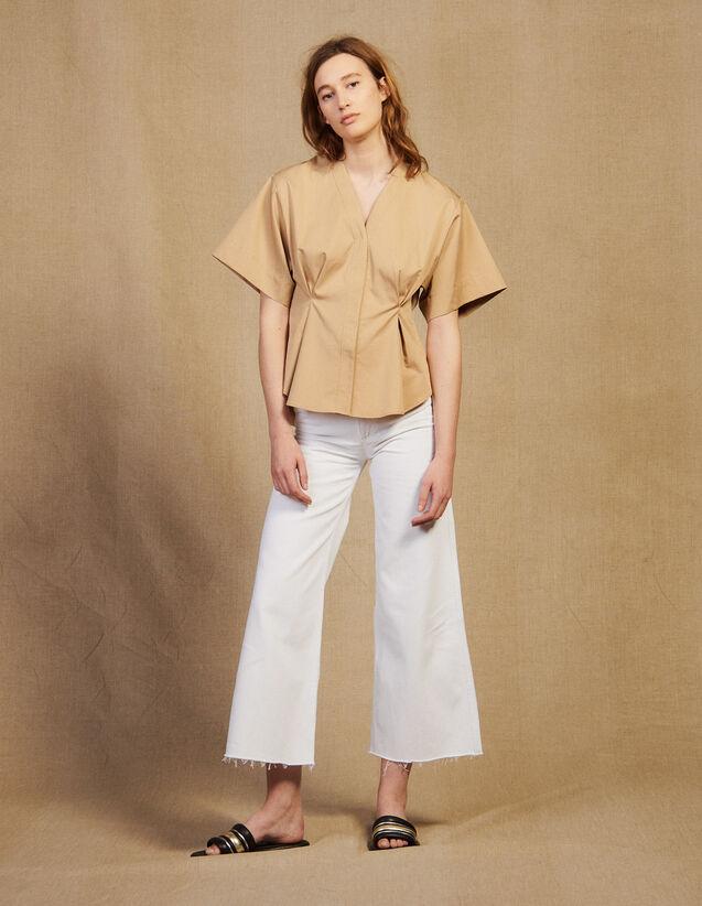 Camicia In Cotone A Maniche Corte : Top & Camicie colore Beige