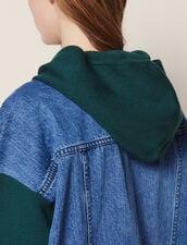 Cardigan Con Cappuccio Bimateriale : Maglieria & Cardigan colore Verde