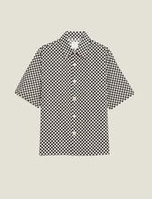 Camicia A Scacchi In Tessuto Giapponese : Sélection Last Chance colore Nero