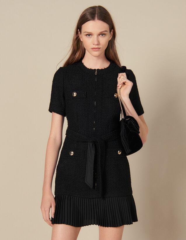 Robe courte avec bas de jupe plissé : Robes couleur Noir