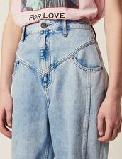 Jeans Délavé Con Inserti : null colore Blue Vintage - Denim