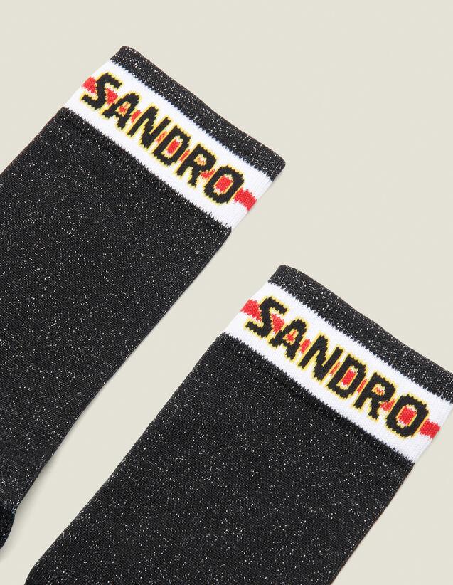 Calzini In Lurex Con Logo Sandro : Calze colore Nero