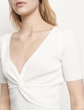Top corto in maglia a coste : Top & Camicie colore Bianco