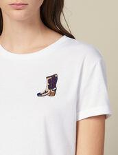 T-Shirt Con Applicazione Ricamata : Magliette colore Bianco