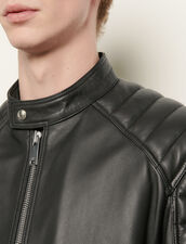Giubbotto in pelle finiture matelassé : Giubbotti & Giacche colore Nero