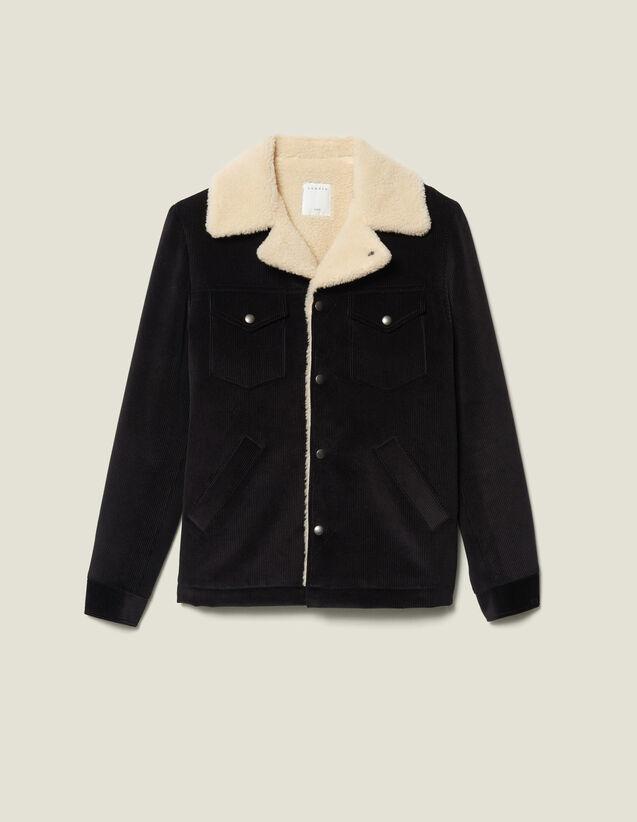 Veste en velours à doublure effet mouton : Blousons & Vestes couleur Noir