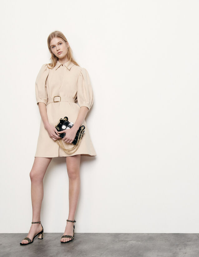 Robe manteau en coton et lin : Robes couleur Beige