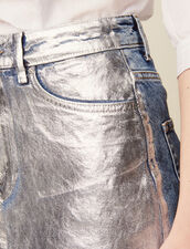 Gonna In Jeans Rivestimento Argentato : null colore Argento