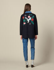 Cardigan-cappotto con collo in jeans : FBlackFriday-FR-FSelection-30 colore Blu Marino