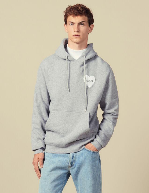 Hoodie En Coton Avec Patch Peace : Sweats couleur Gris Chiné