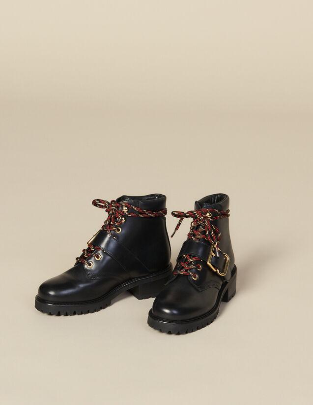 Rangers en cuir lisse : LastChance-ES-F40 couleur Noir