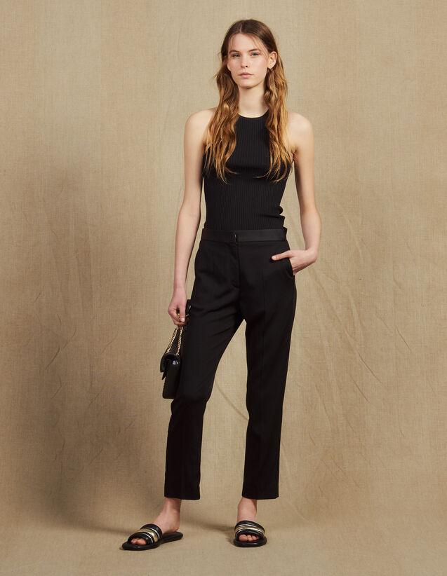 Pantaloni con inserto in satin : Pantaloni colore Nero