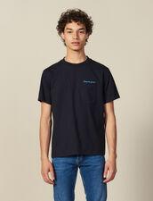 T-Shirt À Message En Coton : HCollectionHiver couleur Marine