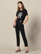Pantaloni A Vita Alta Con Fibbie : Pantaloni colore Nero