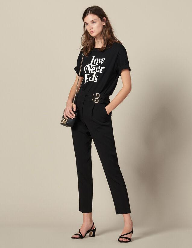 Pantaloni a vita alta con fibbie : LastChance-ES-F40 colore Nero