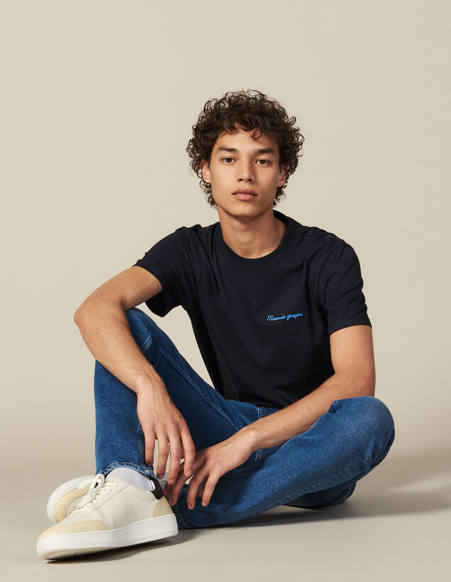 T-Shirt Con Scritta In Cotone : Collezione Invernale colore Blu Marino