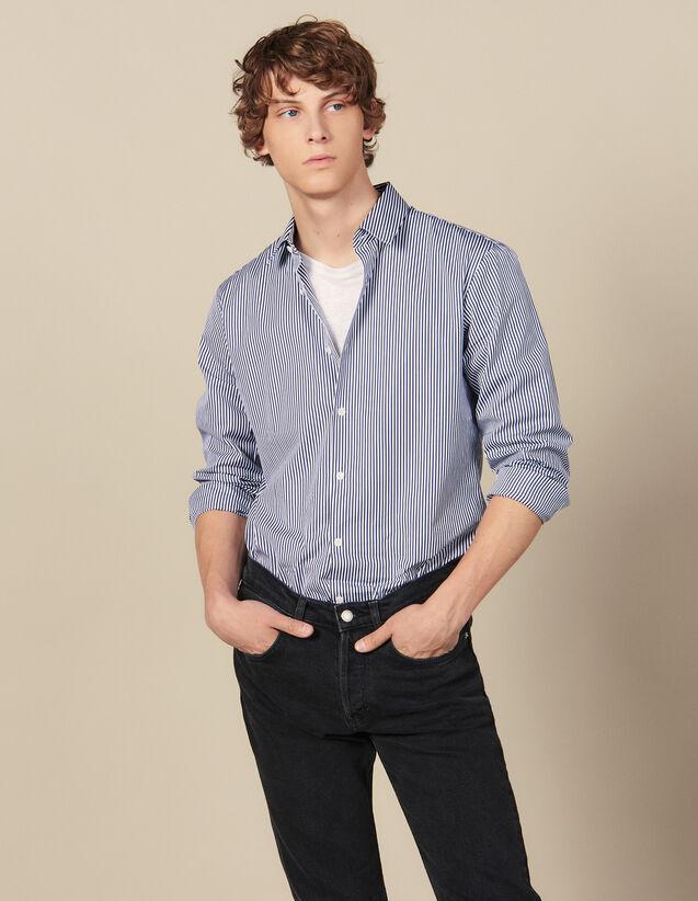 Camicia A Righe : Collezione Invernale colore Blu Marino/Bianco