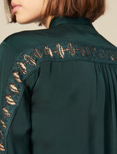 Camicia Con Inserto In Pizzo : LastChance-ES-F50 colore Verde