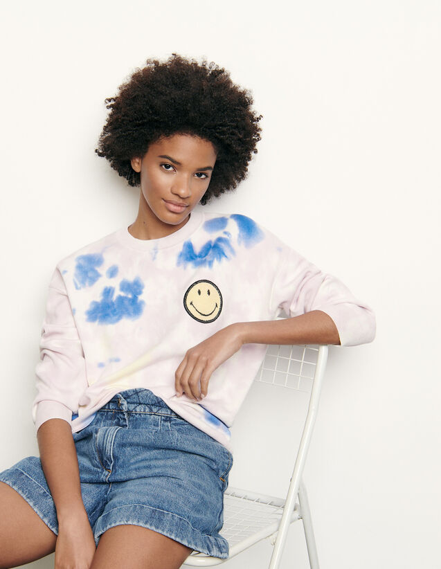 Pull tye and dye avec broderie smiley : FNouvelle-Collection-Ete couleur Multicolore
