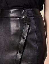 Gonna a portafoglio con spacco in pelle : Gonne & Short colore Nero