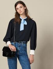 Top Fluido Con Lavallière A Contrasto : Top & Camicie colore Nero