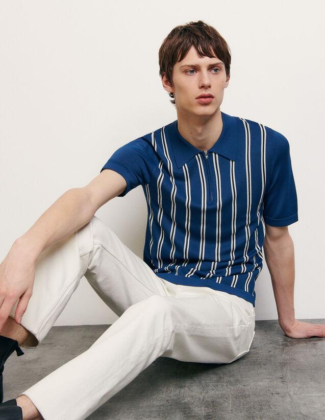 Polo in maglia a righe : Magliette & Polo colore Blu
