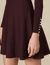 Robe en maille avec boutons bijoux : Robes couleur Brown