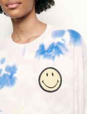 Pullover tie & dye con smiley ricamato : Maglieria & Cardigan colore Multicolore