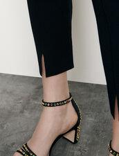 Leggings in maglia con piccoli spacchi : Pantaloni colore Nero