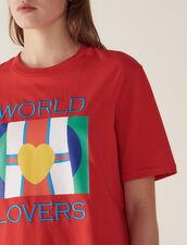T-Shirt Con Logo Bandiere E Ricamo : null colore Rosso