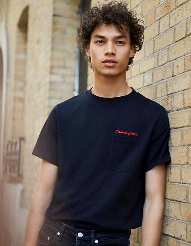 T-Shirt Con Scritta In Cotone : L'intera collezione Invernale colore Blu Marino