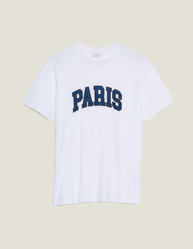 T-Shirt Con Scritta Applicata : Sélection Last Chance colore Bianco