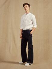 Pantaloni Vita Elasticizzata In Cotone : Sélection Last Chance colore Blu Marino