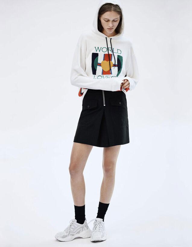Gonna A Vita Alta Con Zip A Contrasto : Gonne & Short colore Nero