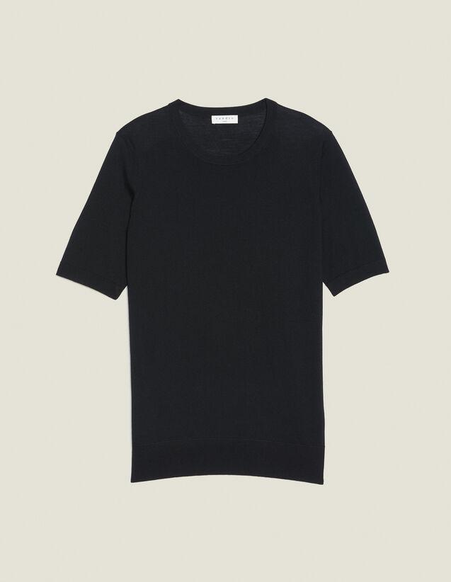 Pullover A Maniche Corte In Lana Merino : Copy of Tutta la Selezione colore Nero