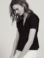 T-Shirt Scollo A V Con Impunture : null colore Nero
