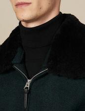 Blouson aviateur en laine chevron : LastChance-IT-H30 couleur Vert foncé