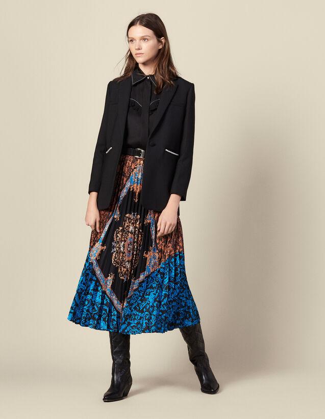 Jupe longue plissée  imprimée : Jupes & Shorts couleur Multicolore