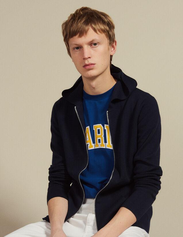Gilet con zip e cappuccio : HPulls et Cardigans_GiletsHomme colore Blu Marino
