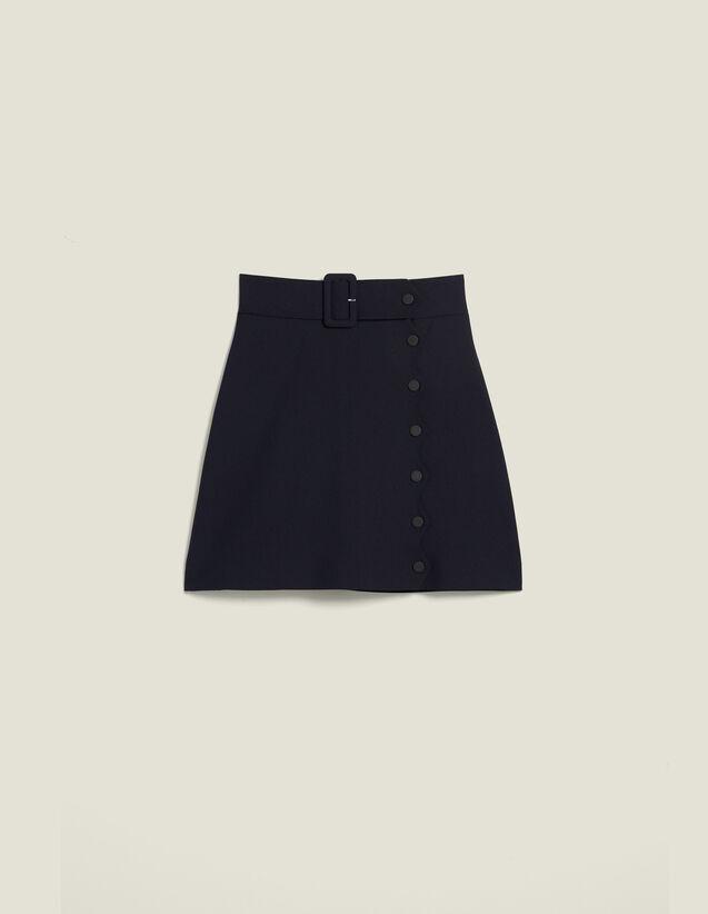 Gonna Corta Con Linea A Trapezio : Gonne & Short colore Blu Marino