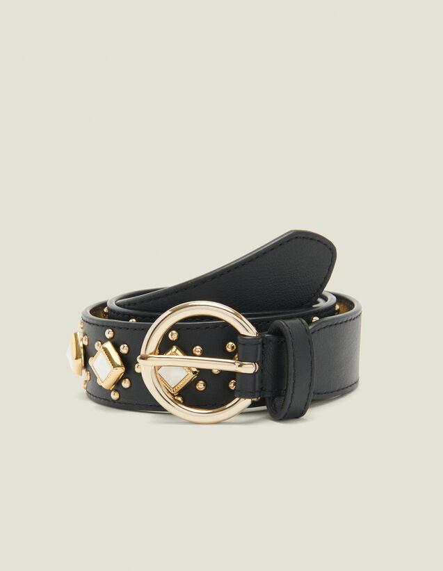 Cintura con borchie e pietre in acetato : Tutti gli Accessori colore Nero