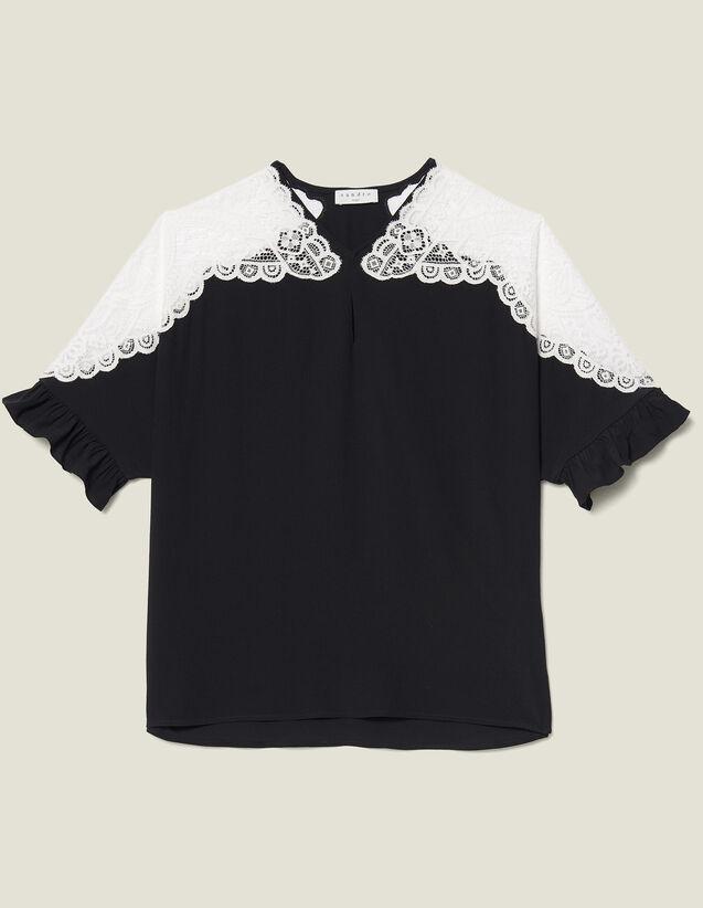 Top Con Inserto In Pizzo : Top & Camicie colore Nero