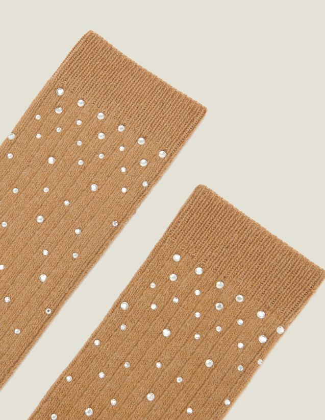 Chaussettes ornées strass : Chaussettes couleur Camel
