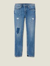 Jeans Slim Destroy In Cotone : Collezione Inverno colore Blue Vintage - Denim