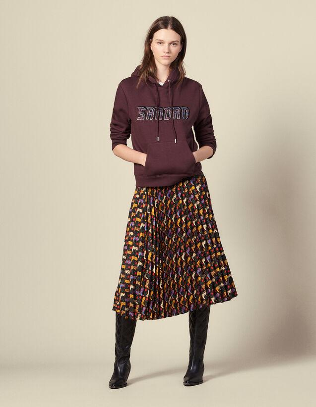 Gonna plissettata a portafoglio stampata : Gonne & Short colore Nero